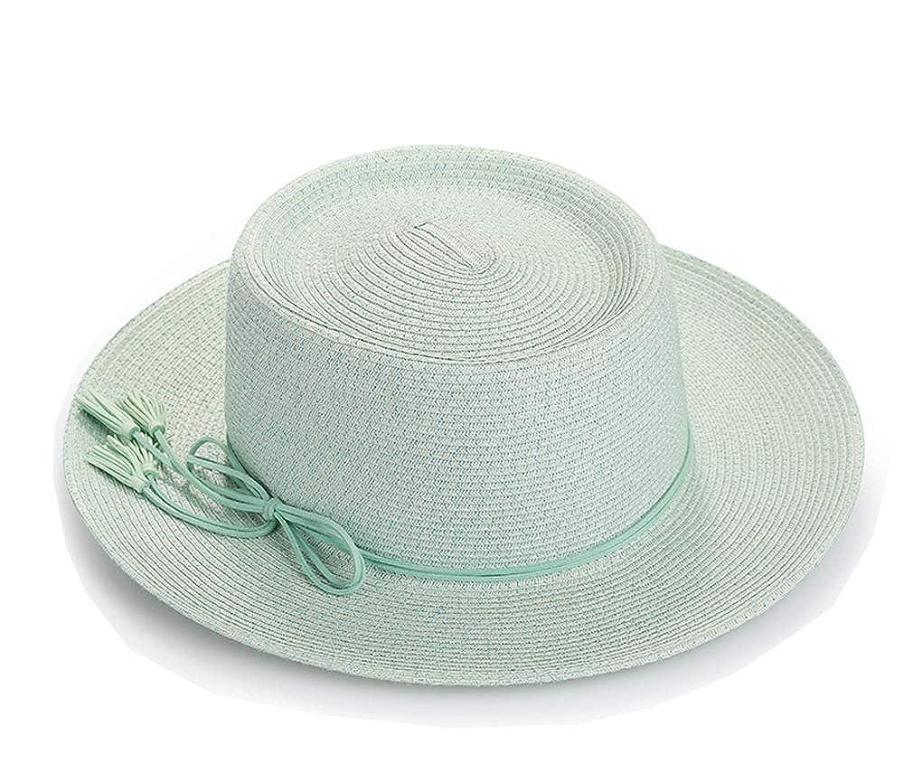 MT-SDKS Womens Wide Brim Straw Boater Sun Hat with Bowtie Trim