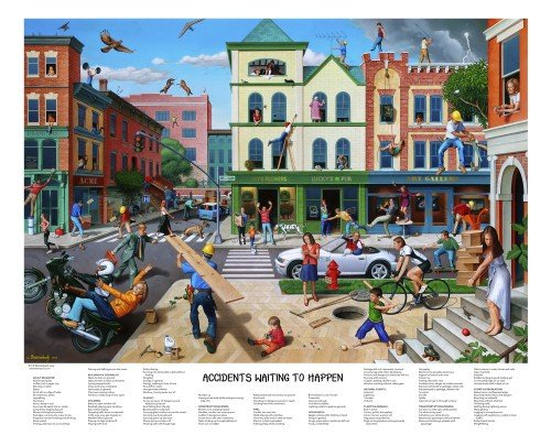 Signed Accidents Waiting To Happen   Poster By T  E  Breitenbach  28X22 Inches