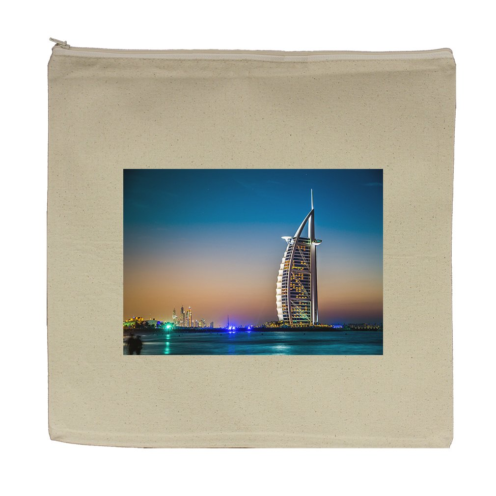 Canvas Zipper Pouch Tote Bag 5.5''X7.5'' Burj Al Arab 5 Stars Hotel Style In Print