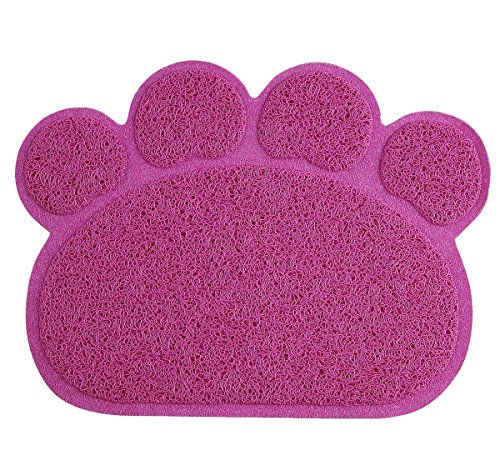 Dog Mats for Food/Cat Litter Mat in Pet Paw Shape ---By PetCee (Rosy,S,11.8x15.8 Inch)
