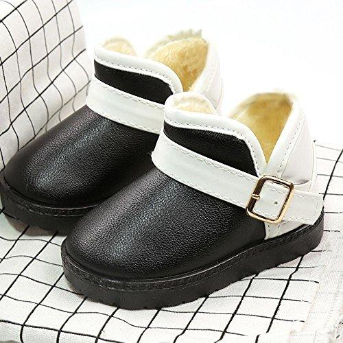 IGEMY Kleinkind Kinder Baby Mischfarben Mädchen Jungen Schuhe, Winter Martin Schnee Stiefel Schuhe Schwarz