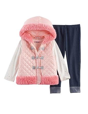 3dc4c8ef5 Amazon.com: Little Lass Baby Girl 3-Pc Faux Fur Puffer Vest, Tee ...