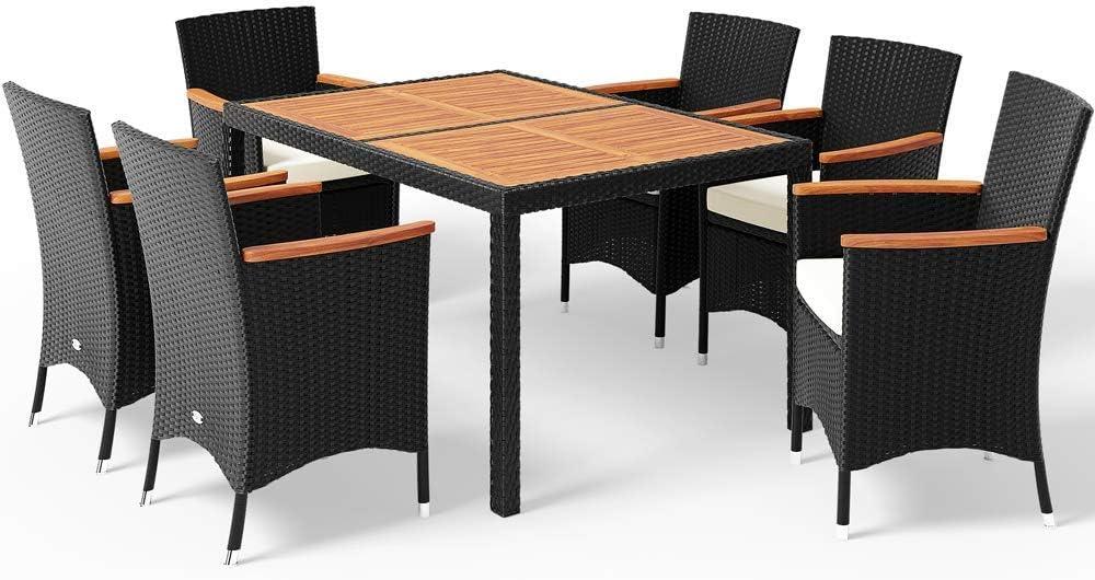 Conjunto de sillas y mesa 6+1 poliratán cojines de 7cm grosor Madera apoyabrazos sillas apilables terraza jardín patio