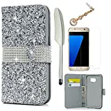 (US) S7 Edge Case,Galaxy S7 Edge Case - Wallet Case Folio Kickstand Shiny Glitter Diamond Texture Premuim PU Leather Case Card Holders Soft TPU Inner Case Slim-Fit Protective Cover by Badalink Silver