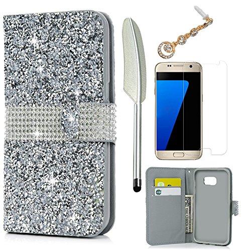Cheap Cases S7 Edge Case,Galaxy S7 Edge Case - Wallet Case Folio Kickstand Shiny..