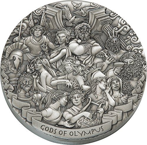 2017 CK Modern Commemorative GODS OF OLYMPUS 5 Oz Silver Coins 5$ Cook Islands 2017 Antique Finish