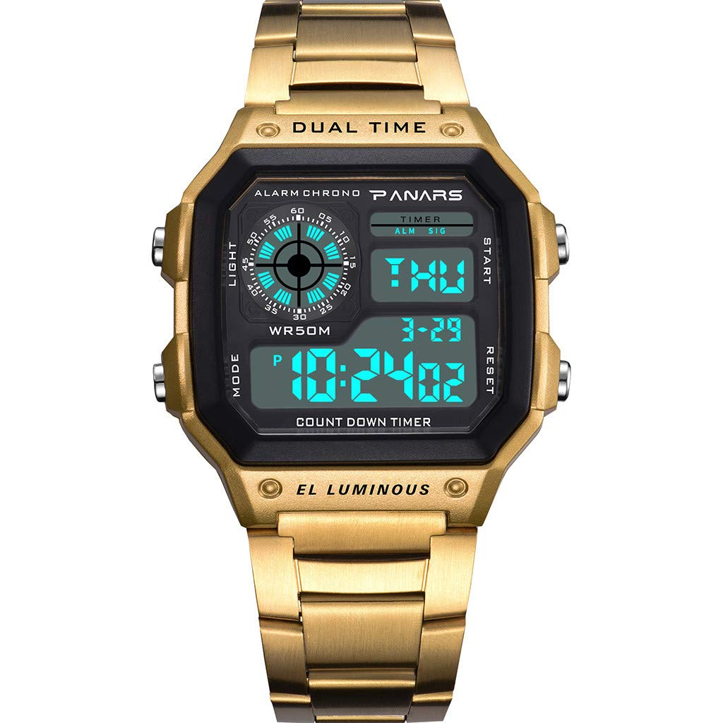 Electronic Watch Men's Waterproof Multi Function Sports Watch Square Fashion Electronic Watch (gold) by XZDCDJ