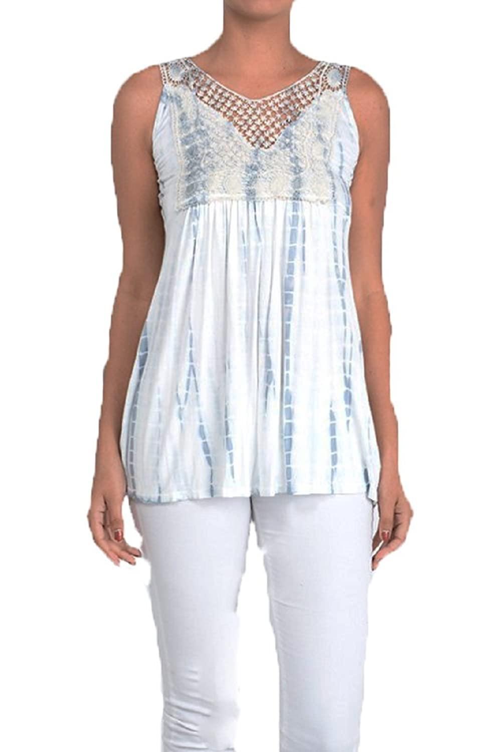 T-Party Light Blue & White Bamboo Dye Open Back Crochet Trim Tank Top