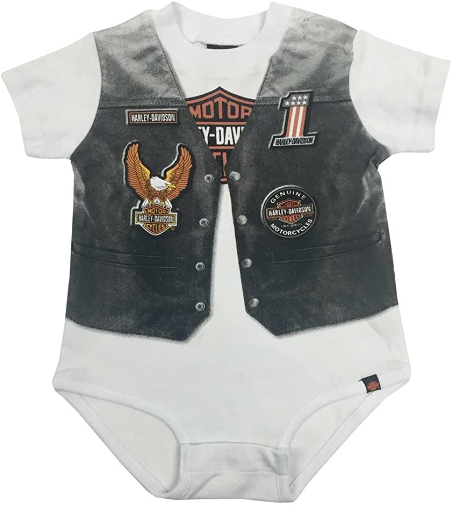 Baby Boy/'s Bodysuit Babygrow Harley-Davidson Long Sleeves Gift Vest Motor Cycles
