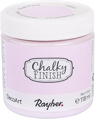 Pintura a la tiza Chalky Finish con base acuosa en tono rosa empolvado. Contiene 118 ml, que permite