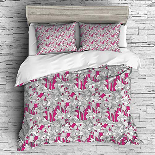 ver 2 Pillow Shams)/All Seasons/Home Comforter Bedding Sets Duvet Cover Sets for Adult Kids/Double/Floral,Grungy Curved Flower Ornaments with Retro Petals Leaves Daffodil Design Ar ()