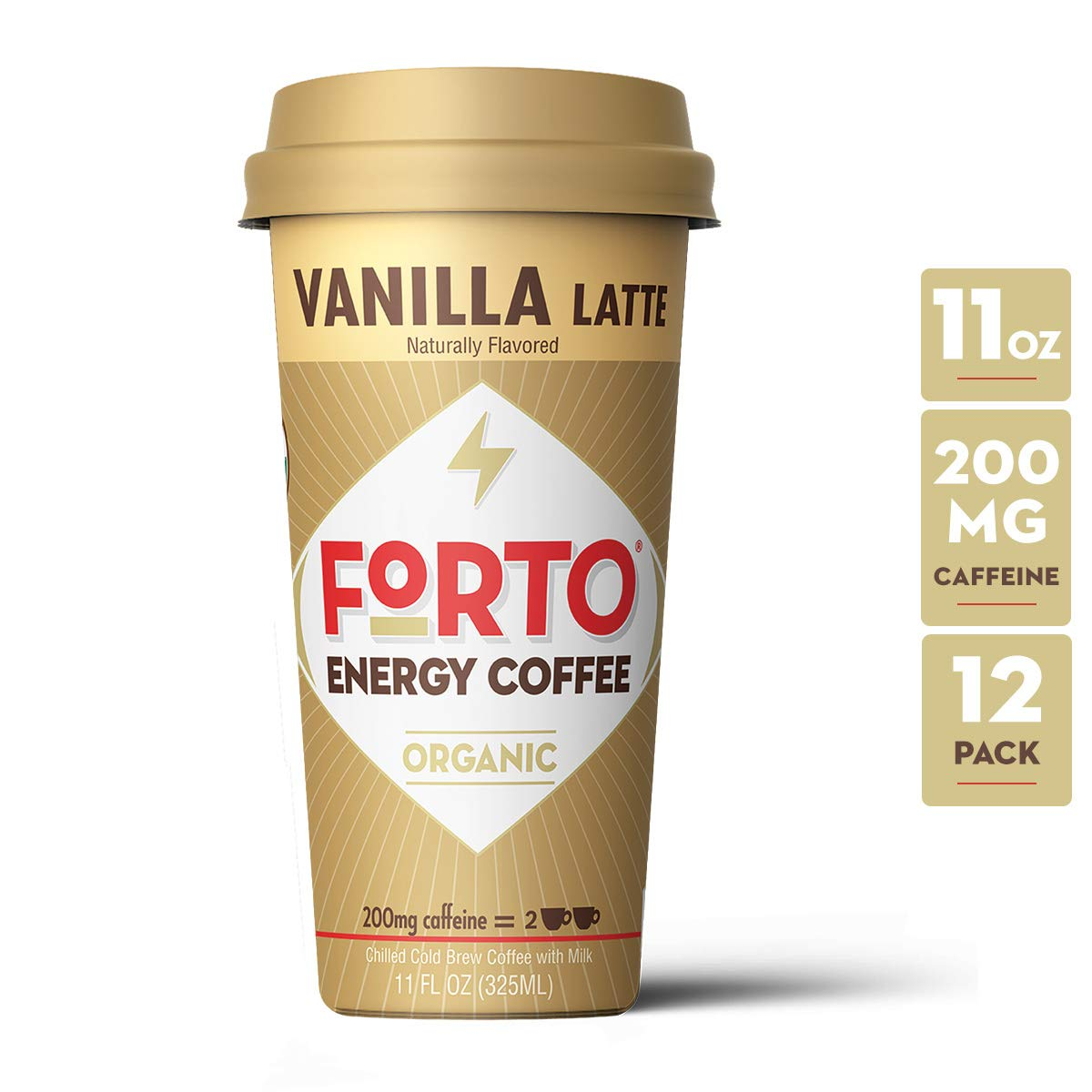 FORTO Energy Coffee - 200mg Caffeine, Vanilla Latte, Delicious & Organic Energy, Ready-To-Drink 11 Fl Oz, Pack of 12