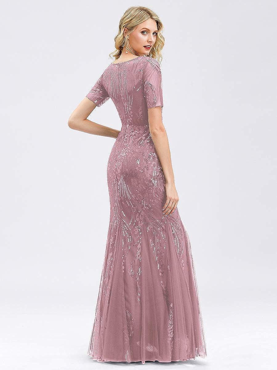 Ever-Pretty Vestito da Cerimonia Donna Sirena Maniche Corte Paillettes Tulle Lungo EZ07705