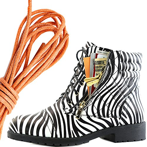 DailyShoes Womens Military Lace Up Buckle Combat Boots Ankle High Exclusive Credit Card Pocket, Orange Zebra Pu