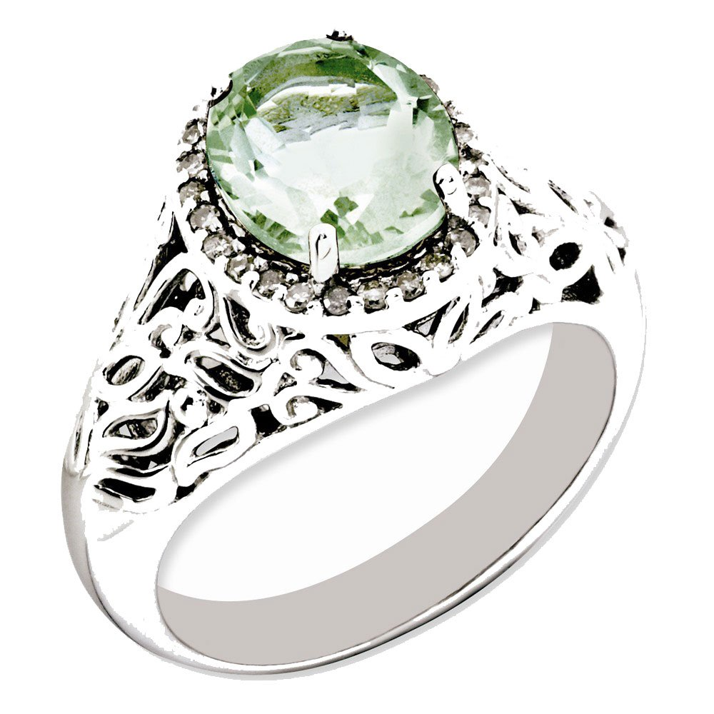 Goldia Sterling Silver Green Natural Quartz /& Natural Diamond Ring