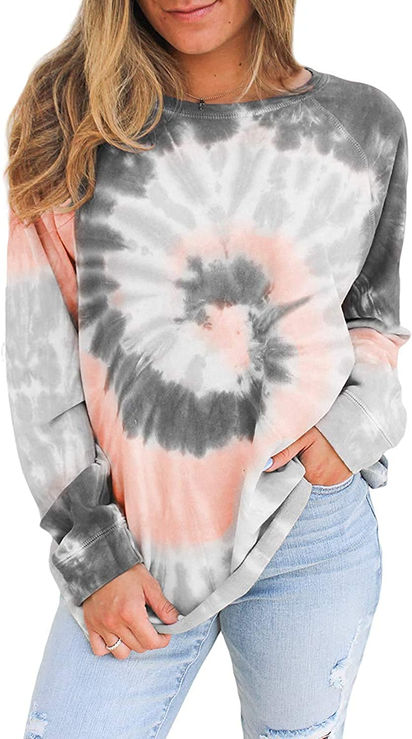 QPQ Women's Casual Tie Dye Crewneck Long Sleeve Loose Pullover Sweatshirt Tops