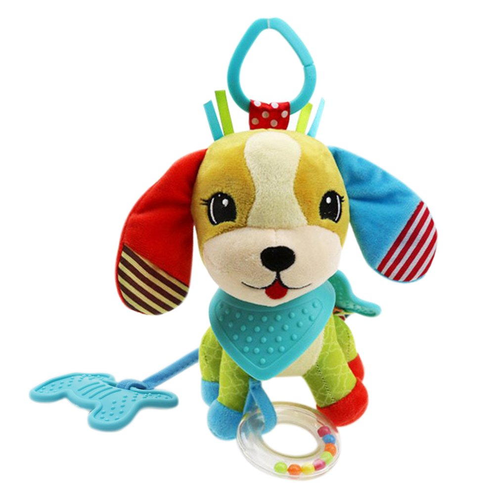 Adorable Dog -- Baby Soft Bandana Dog Activity Toy, Kids Cute Plush Dog, BPA free Teething Soother Stuffed Animal Toy, Stroller Crib Hanging Rattles Toy