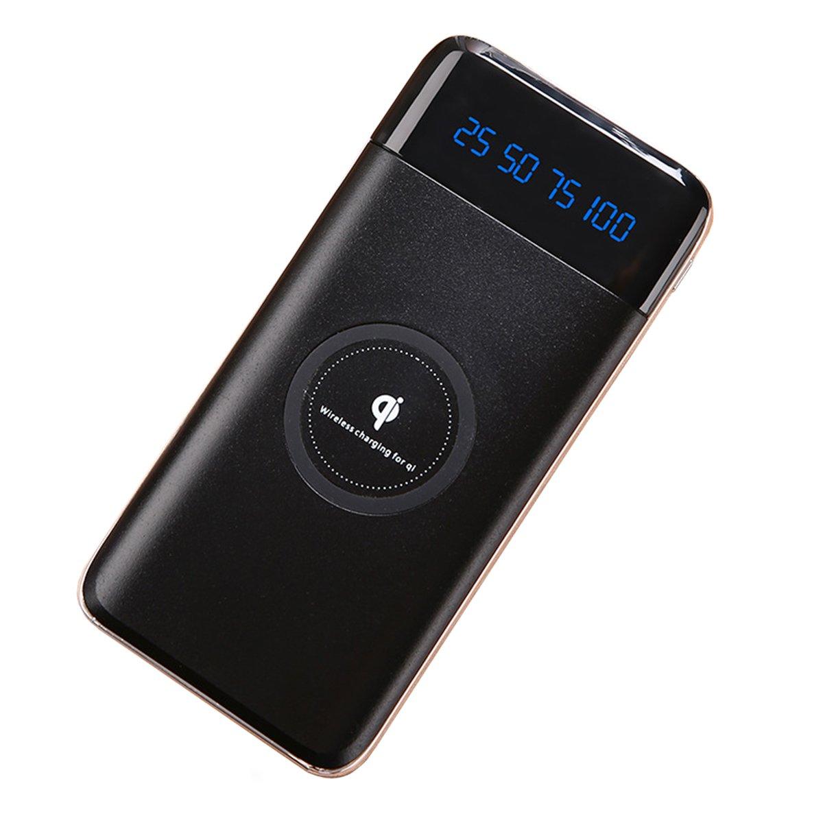 Cargador inalámbrico Power Bank, 10000 mAh Qi portátil Power Bank,2 en 1 inalámbrico Charing Battery Pack con 2 Entrada & 2 Salida para iPhone 8, iPhone 8 Plus, iPhone X, Samsung S8,