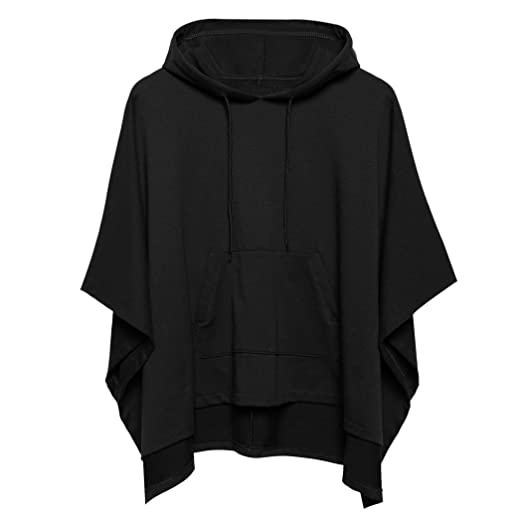 Zeagoo Women Hooded Pullover Casual Batwing Poncho Cape Hoodie