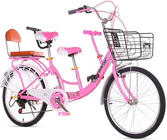 Kuan Familia Tandem Bike Adultos Niños Viaje de Bicicletas Campo de Bicicletas Padre-Hijo Recorrido de la Bicicleta,24inch: Amazon.es: Hogar
