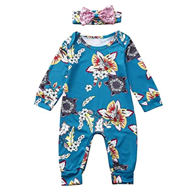 a410be8fa GoodLock Baby Girls Clothes Set Infant Long Sleeve Floral Print Jumpsuit  Romper+Headband Outfits 2Pcs