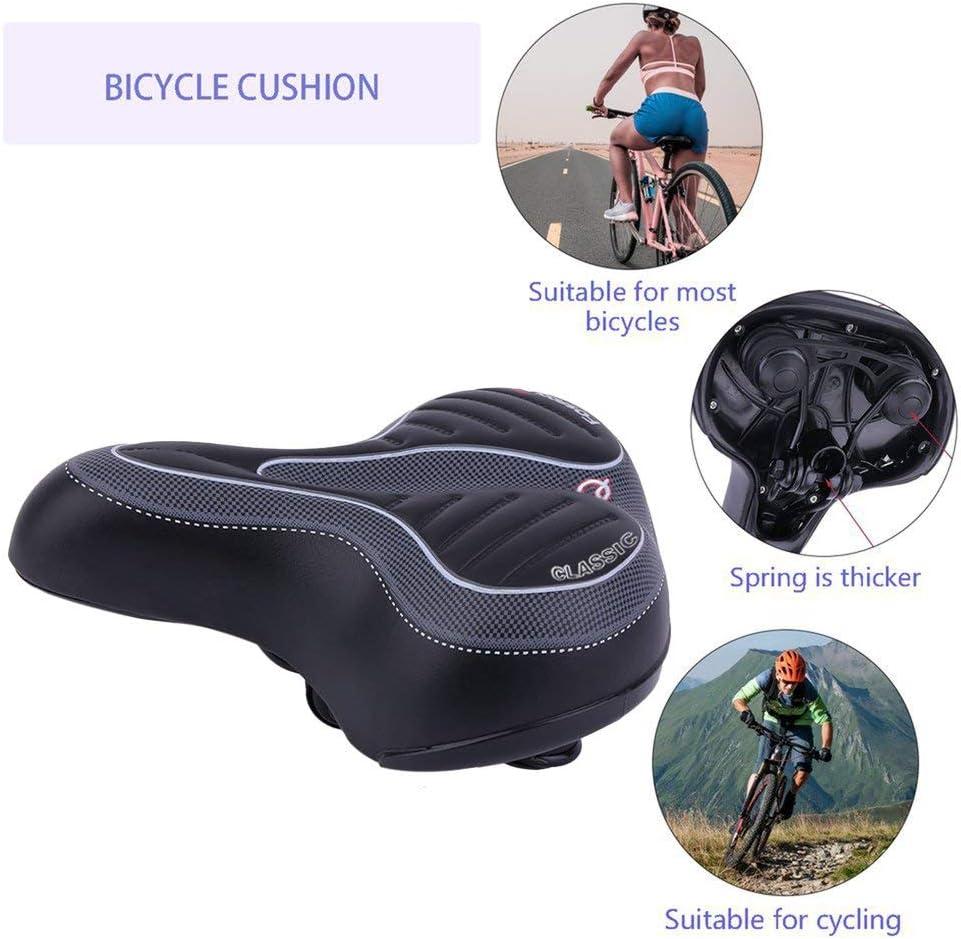 Bike Saddles Comfort Soft Seat Wide Big Bum Gel Pad Bike Replace Bicycle Seat US