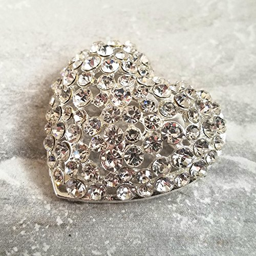 Rhinestone Heart 50mm Embellishment or Pin Dimensional Rhinestone Crystal Heart Brooch Rhinestone Silver Tone Puffy Heart Pin Sew On SC28