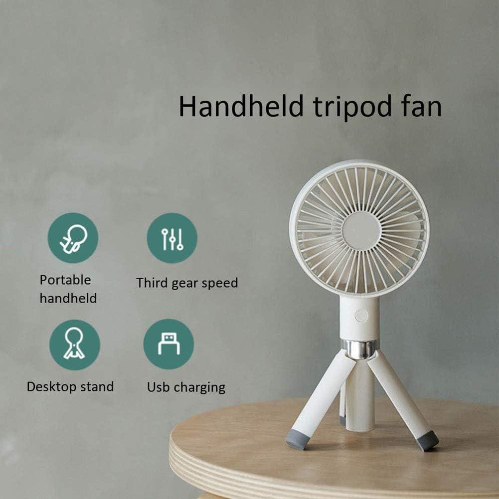 USB Handheld Fan Mini Two Pcs WRYCN Portable Foldable Rechargeable Desktop Tripod Fan for Home and Travel ,White