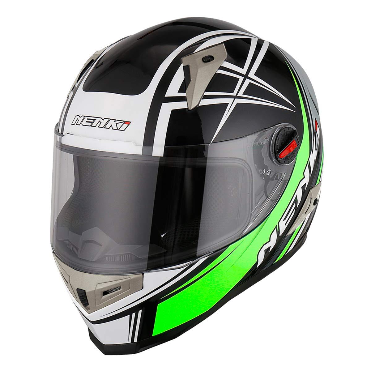NENKI Casco Integral Moto NK-863 para Mujer Hombre Adultos,ECE Homologado Negro Rosa Gris, M 57-58CM