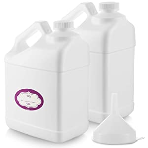 2 Pack - 1 Gallon White Plastic Bottle - Large Empty F-Style 1 Gallon Jug – Gallon Container with Child Resistant Airtight Lids & Labels - Home & Commercial Use - Food Safe BPA Free - Made in USA