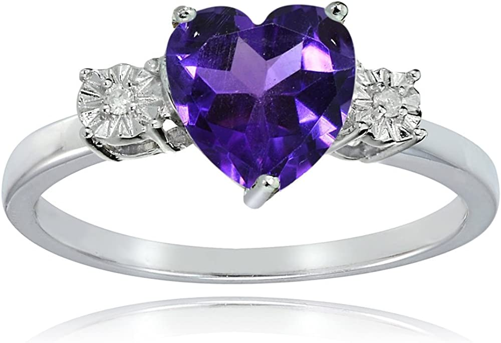 Ice Gems Sterling Silver African Amethyst and Heart Ring