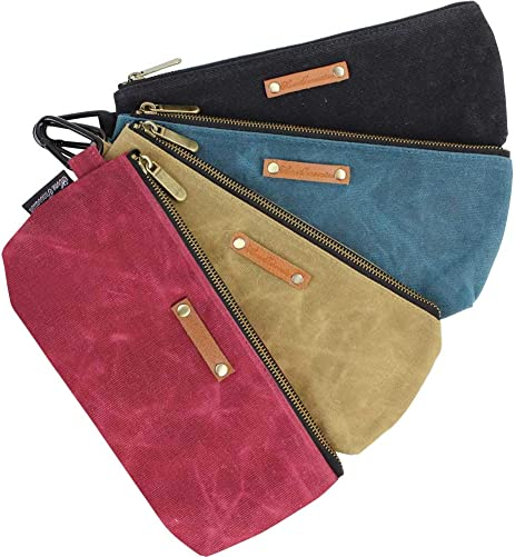 Home Innovation Zipper Pouch Tool Bags Waxed Canvas with Heavy Duty Metal Zipper and Carabiner, 4 Pack Utility Bags Water Resistant, Stand-up Tool Pouch Multi-Purpose Organizer