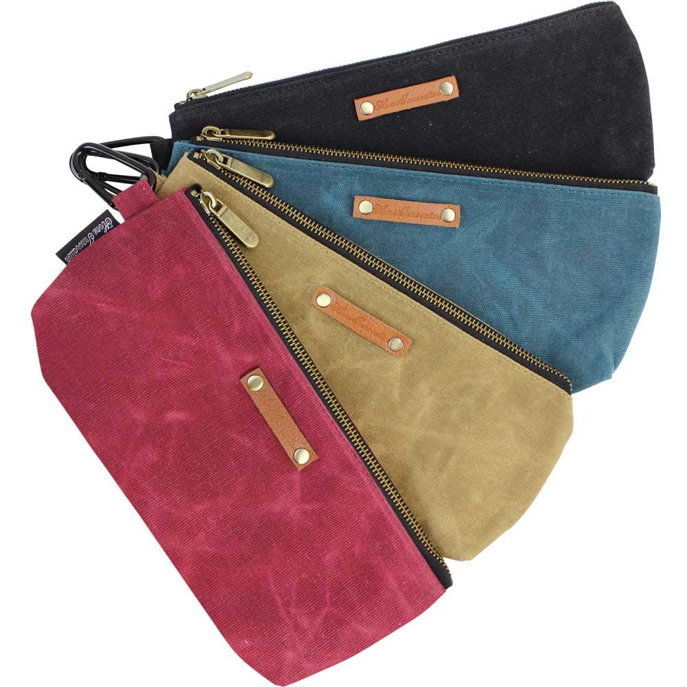 Zipper Pouch Tool Bags Waxed Canvas with Heavy Duty Metal Zipper and Carabiner, 4 Pack Utility Bags Water Resistant, Stand-up Tool Pouch Multi-Purpose Organizer by Home Innovation