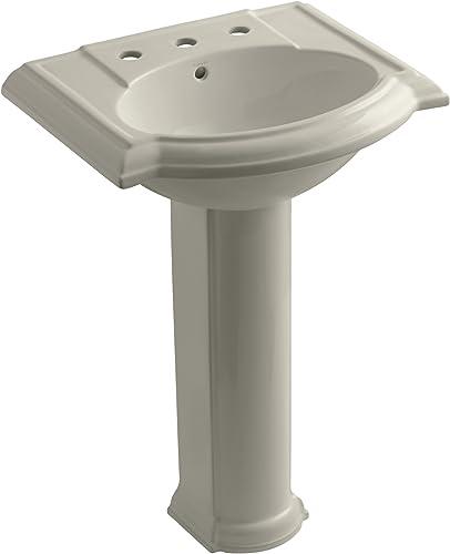 KOHLER K-2286-8-G9 Devonshire Pedestal Bathroom Sink with 8 Centers, Sandbar