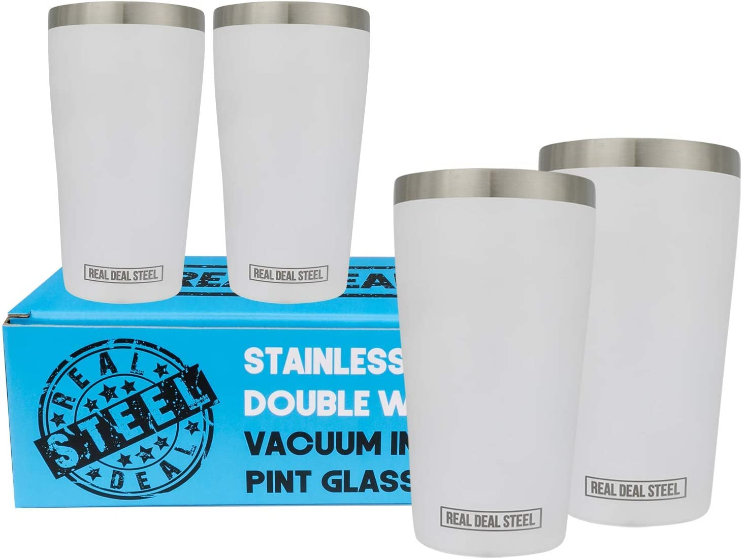 Stainless Steel Pint Glasses: Double Wall Vacuum Copper Insulated Metal Cups to Keep Drinks Cold or Hot - Rimless, Sweat Free Beer Tumbler for Cocktails, Coffee, Set of 4, 16 oz (White)