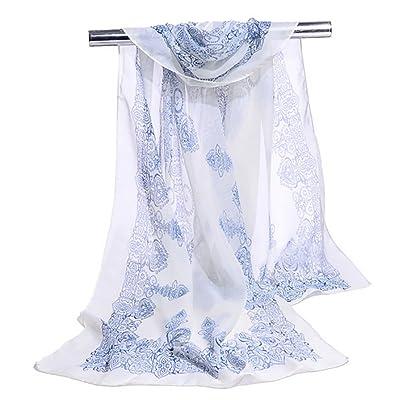 Da.Wa accessoires de vêtements pour femmes printemps et en été rétro motif bleu et blanc longue écharpe