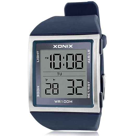 Reloj de Hombre con números Grandes, multifunción, LED, Resistente al Agua, Movimiento al Aire Libre, electrónico, Reloj C: Amazon.es: Relojes