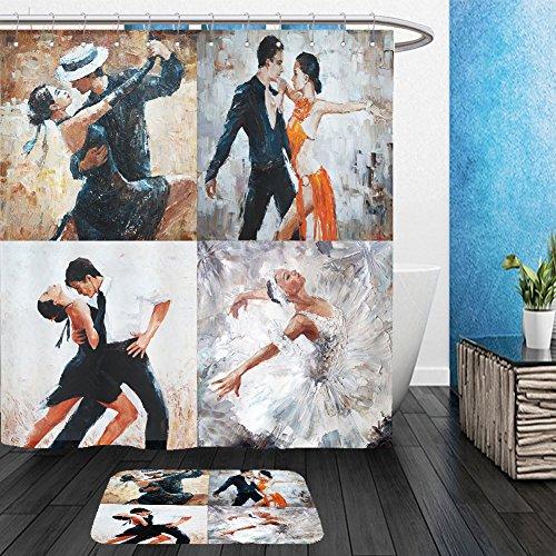 Aztec Dancers Costumes (Vanfan Bathroom 2Suits 1 Shower Curtains & 1 Floor Mats tango dancers oil painting girl ballerina in 366440951 From Bath room)