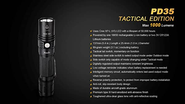 Fenix PD35 TAC 1000 Lumen CREE XP-L LED Tactical Flashlight with Two EdisonBright CR123A Lithium Batteries review