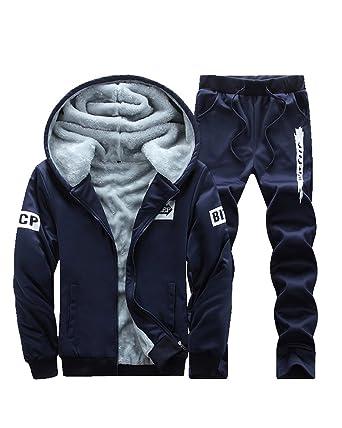 9cb36994f9b83a Homme Velours Jogging Survêtement Zip Sweat À Capuche + Pantalons 2 Pièces  Bleu Foncé XXL