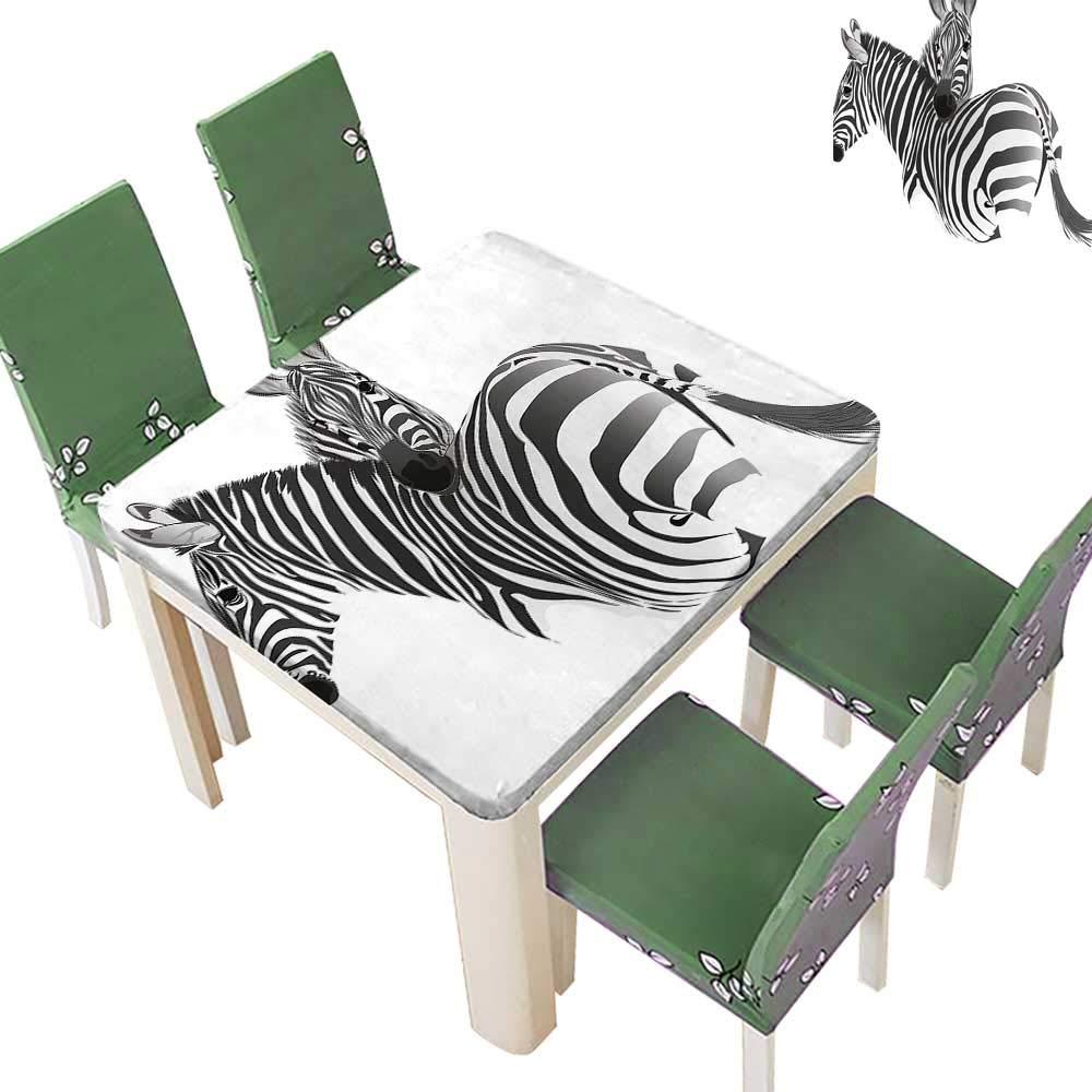 Printsonne Polyester Tablecloth Couple Safari Theme Savannah Camouflage Zoo Exotic Horse Black White Spillproof Tablecloth 50 x 50 Inch (Elastic Edge)