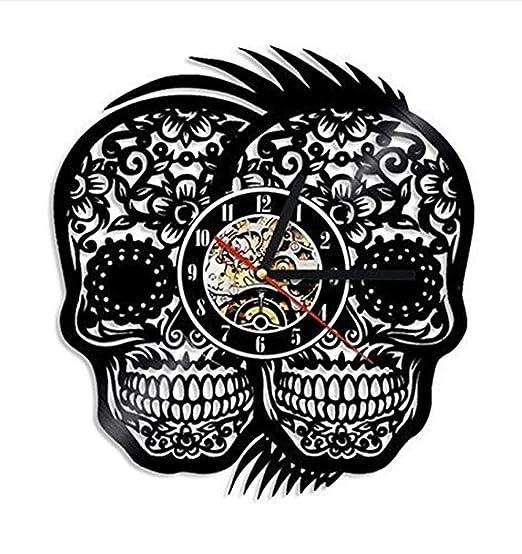 Cráneo Tatuaje del Cráneo Retro Vintage Reloj De Pared Disco De ...
