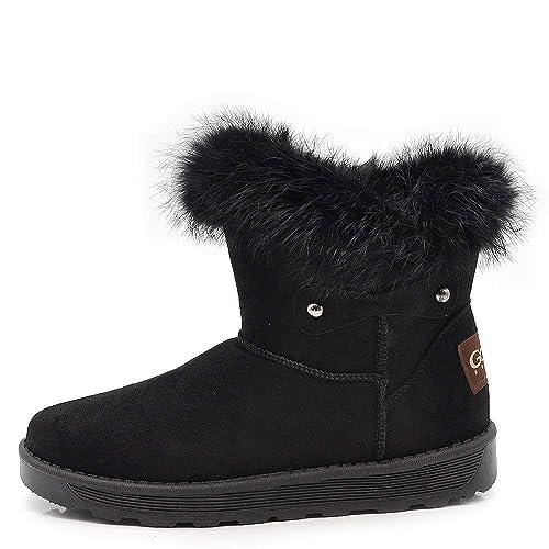 29e5a9811abdd Scarpe Donna Boot Stivali Invernali Imbottiti Pelliccia Interna camoscio  Sintetico Mammut MZ2000-17 Nero 36