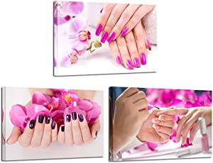 Kreative Arts 3 Pieces Canvas Prints Purple Orchid Flowers Nail-Painting Wall Art Hands Spa Pictures Beauty Salon Manicure Posters Printed On Canvas for Nail Salon Walls Decor 16x24inchx3pcs