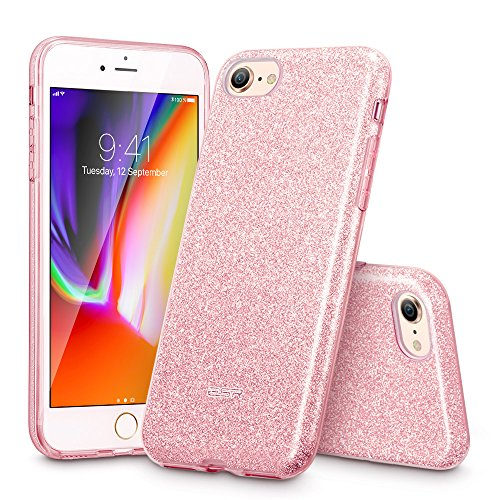 (ESR iPhone 8 Case, iPhone 7 Case, Glitter Case Bling Sparkle Three Layer Shockproof Soft TPU Outer Cover + Hard PC Inner Protective Shell Cover for Apple 4.7