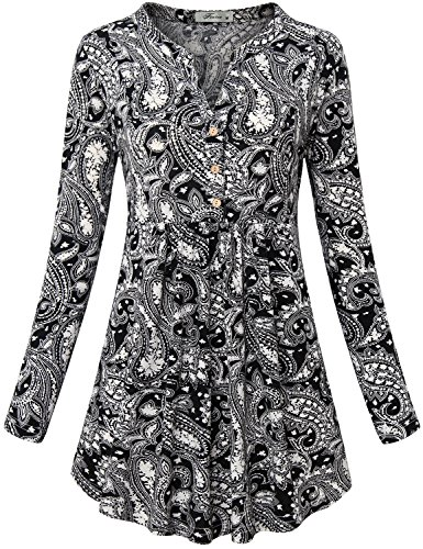 Paisley Shirt, Womens Tops Split V Neck Long Sleeve Button Down Blouse Unique Designer Graceful Empire Waist Trapeze Dress Tunic Henley Soft surroundings Paisley Printed Black (Paisley Empire Shirt)