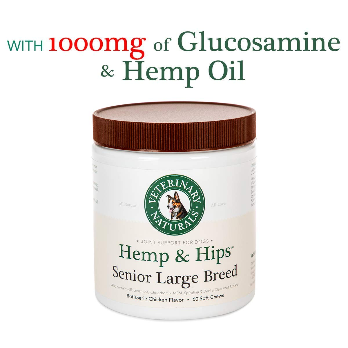 Veterinary Naturals Hemp & Hips Dog Joint Supplement - Glucosamine and Hemp Oil for Dogs - 'Senior Large Breed' Dog Arthritis Supplement - 60 Soft Chew Senior Dog Vitamins, Rotisserie Chicken Flavor by Veterinary Naturals (Image #1)
