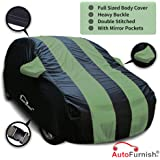 Autofurnish Green Stripe Car Body Cover for Hyundai i10 - Arc Blue