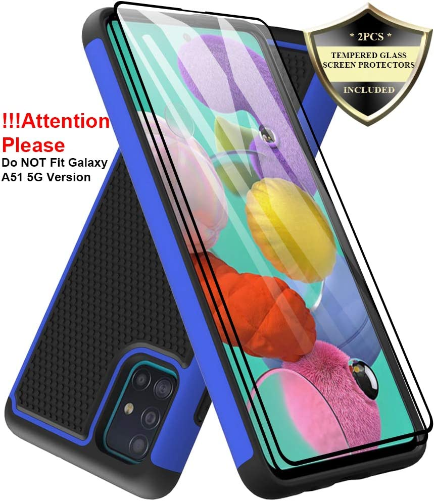 Dahkoiz Galaxy A51 Case with Tempered Glass Screen Protector [2 Pack], Armor Defender Cover Samsung Galaxy A51 Case Dual Layer Hybrid Protective Phone Case for Samsung Galaxy A51 A515, Blue