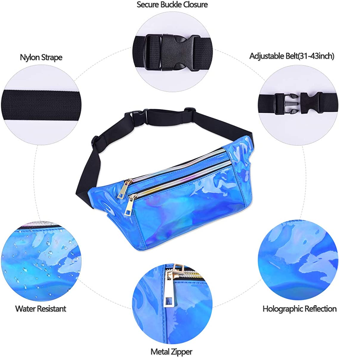 Waterproof Shiny Waist Pack with Adjustable Belt for Festival Hiking Travel Fashion Cool Fanny Packs for Girls Suxman Holographic Fanny Pack for Women and Men Party